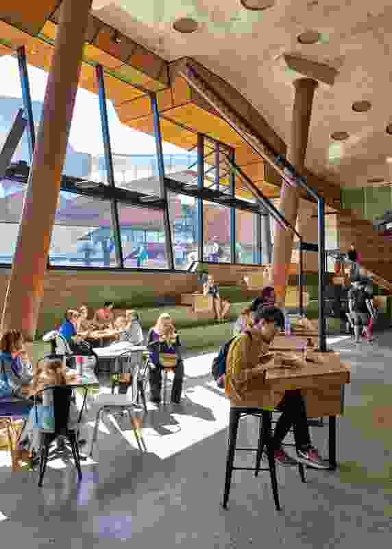 The Market Hall, a largely internal space that sits under the topography, is the project's commercial component.
