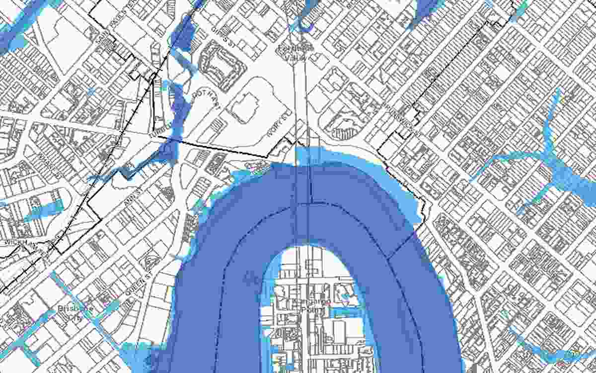 A screenshot from the council's Flood Awareness Map shows the Howard Smith Wharves site (at the north-eastern riverbank) classed as a medium flood risk, meaning flooding is likely to occur.
