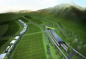 A render of the Luoying Vineyard project by Denton Corker Marshall.