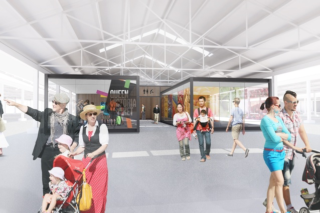 Proposed customer amenities and visitor information centre of the Queen Victoria Market Quarter 2 redevelopment by Grimshaw.