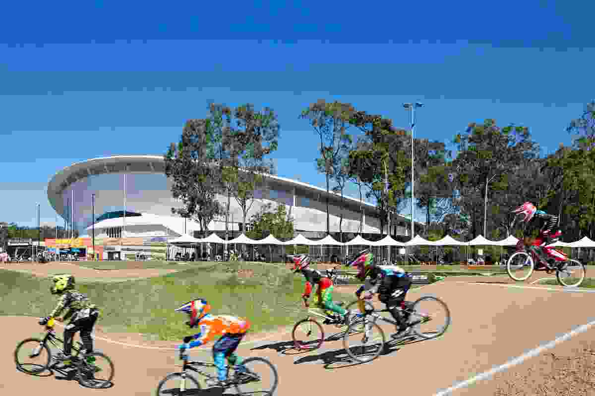 The new Anna Meares Velodrome in Brisbane designed by Cox Architecture.