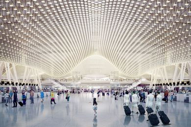 The interior of Taoyuan Airport's Terminal 3 in Taiwan designed by Rogers Stirk Harbour and Partners.