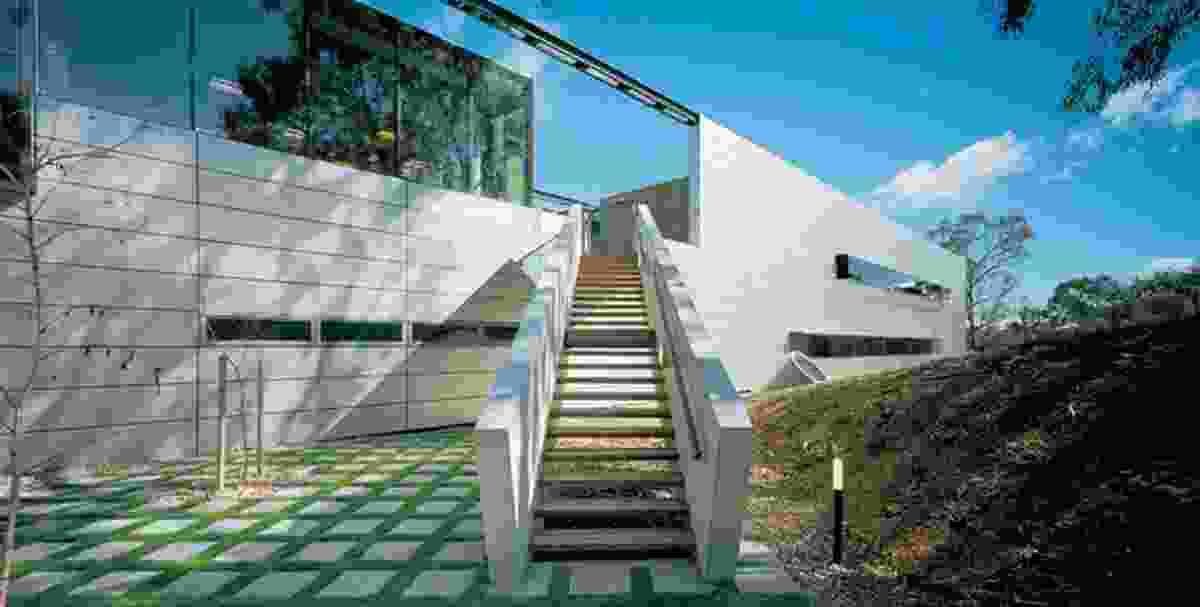 """The """"gangway"""" leading from the sauna to the upper deck separating the residence from the chancery."""