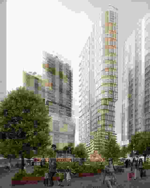 New plaza view of the 60- and 25-storey towers by PTW Architects and 35-storey by Collins and Turner.