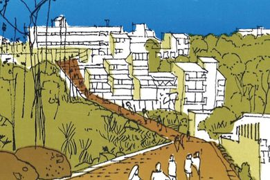 Conceptual sketch of Griffith University from a site planning report in April 1973 by Roger Johnson.