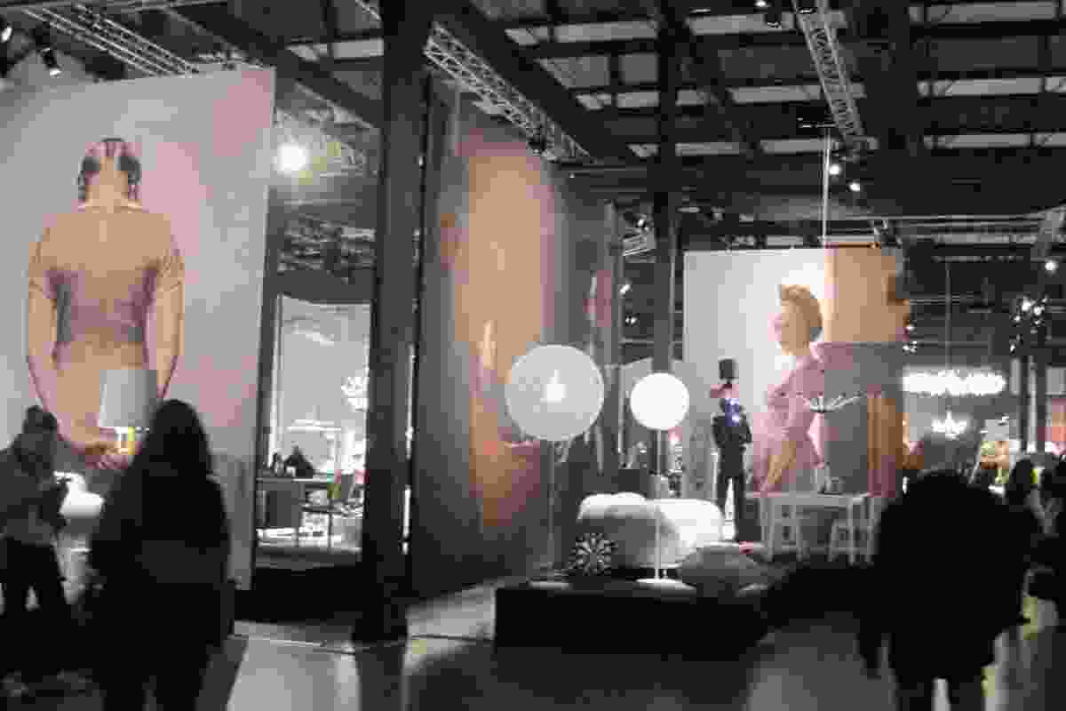 Moooi installations used oversized photographs of people as backdrops.