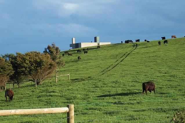 Rural Villa (2008): this sheer masonry form is striking shape in its rural setting.