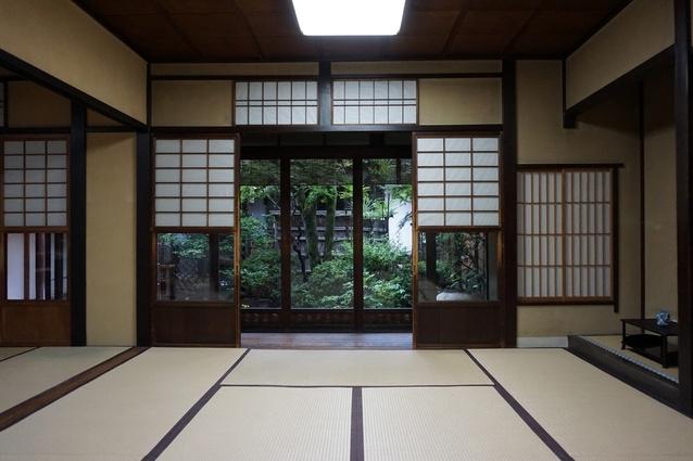 View to the ornamental courtyard at Nishijin Tondaya Teahouse, Kyoto.