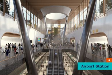 A proposed underground Melbourne Airport railway station by Grimshaw Architects.
