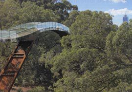 The slender ribbon-like bridge arcs across a small valley, evoking the journey of the dreamtime serpent, the Wagyl and providing uninterrupted views to the Swan River.