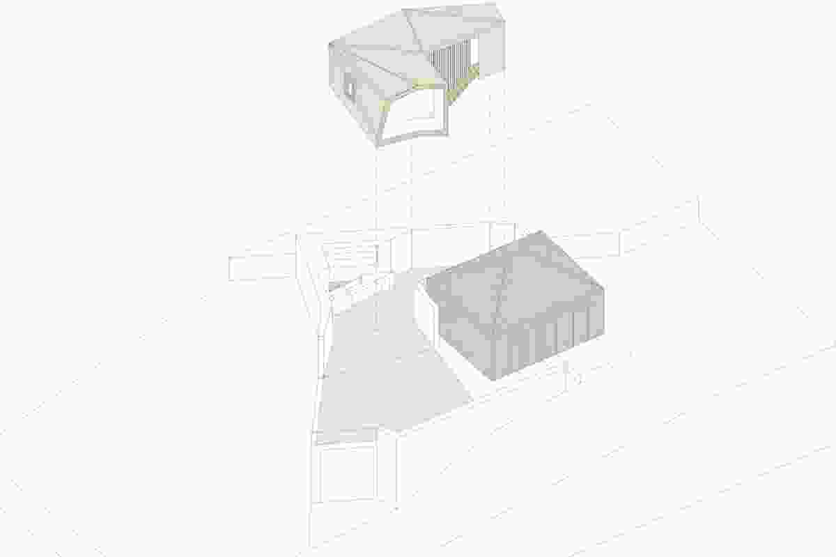 Axonometric of the plan: existing cottage shaded dark grey.