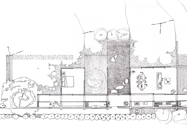 A sketch plan of Wall House, Shizuoka, Japan by Peter Stutchbury with Keiji Ashizawa Design (2007-09).