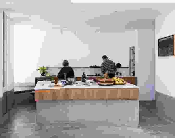 """Concrete, marble and blackbutt come together to create a kitchen that enhances human comfort and demonstrates the """"elegance of the essential."""""""
