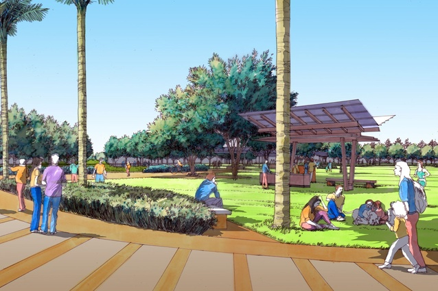 Artist's impression of the developed Bendigo Botanic Gardens, White Hills from the western entrance path looking over the events/training space to the BBQ area and Children's garden.