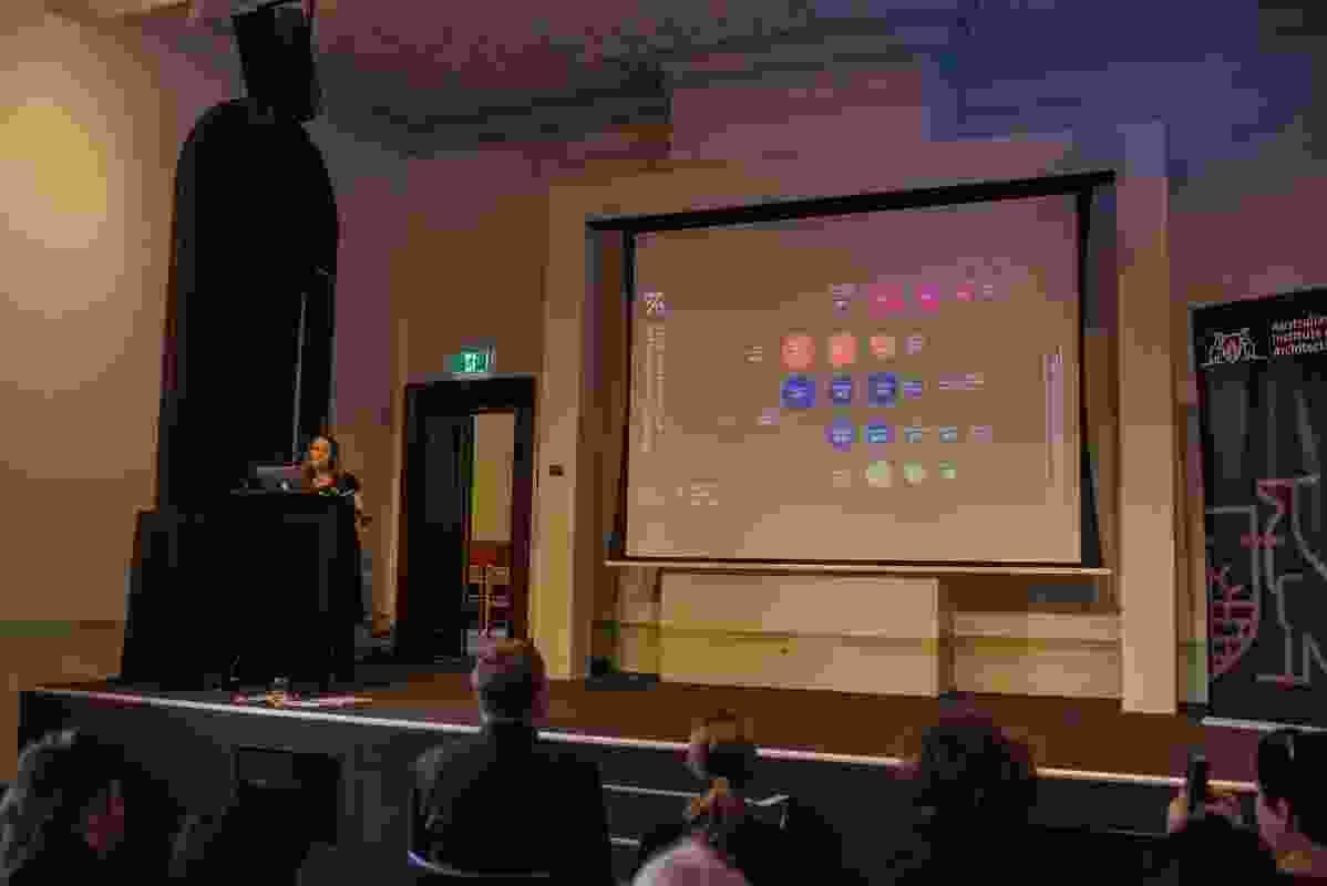 Gill Mathewson presenting statistics at Participate, Sydney 2017.