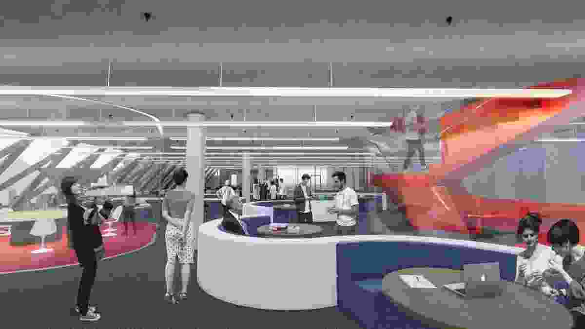 The internal spaces of the new industry hub at the University of Technology Sydney by Tonkin Zulaikha Greer will be arrange around a sculptural staircase.