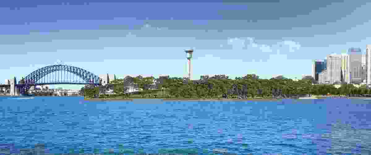 A render of the proposed Headland Park, looking from Balmain.