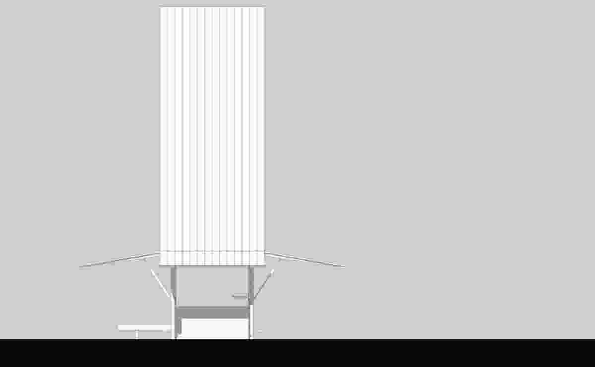 Elevation of the Sean Godsell-designed chapel for the Vatican Chapels exhibition at the Venice Architecture Biennale.
