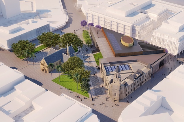 Overview of the The Kings Square civic building by Kerry Hill Architects.