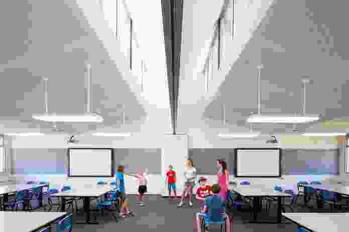 Operable walls between each pair of classrooms allow them to expand or contract.