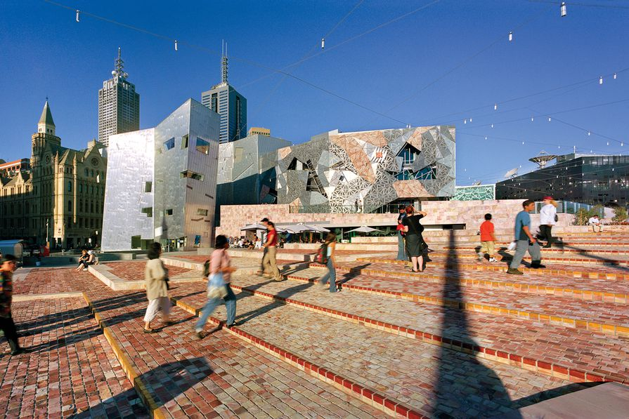 Federation Square is a major gathering place and locus of public life in Melbourne.