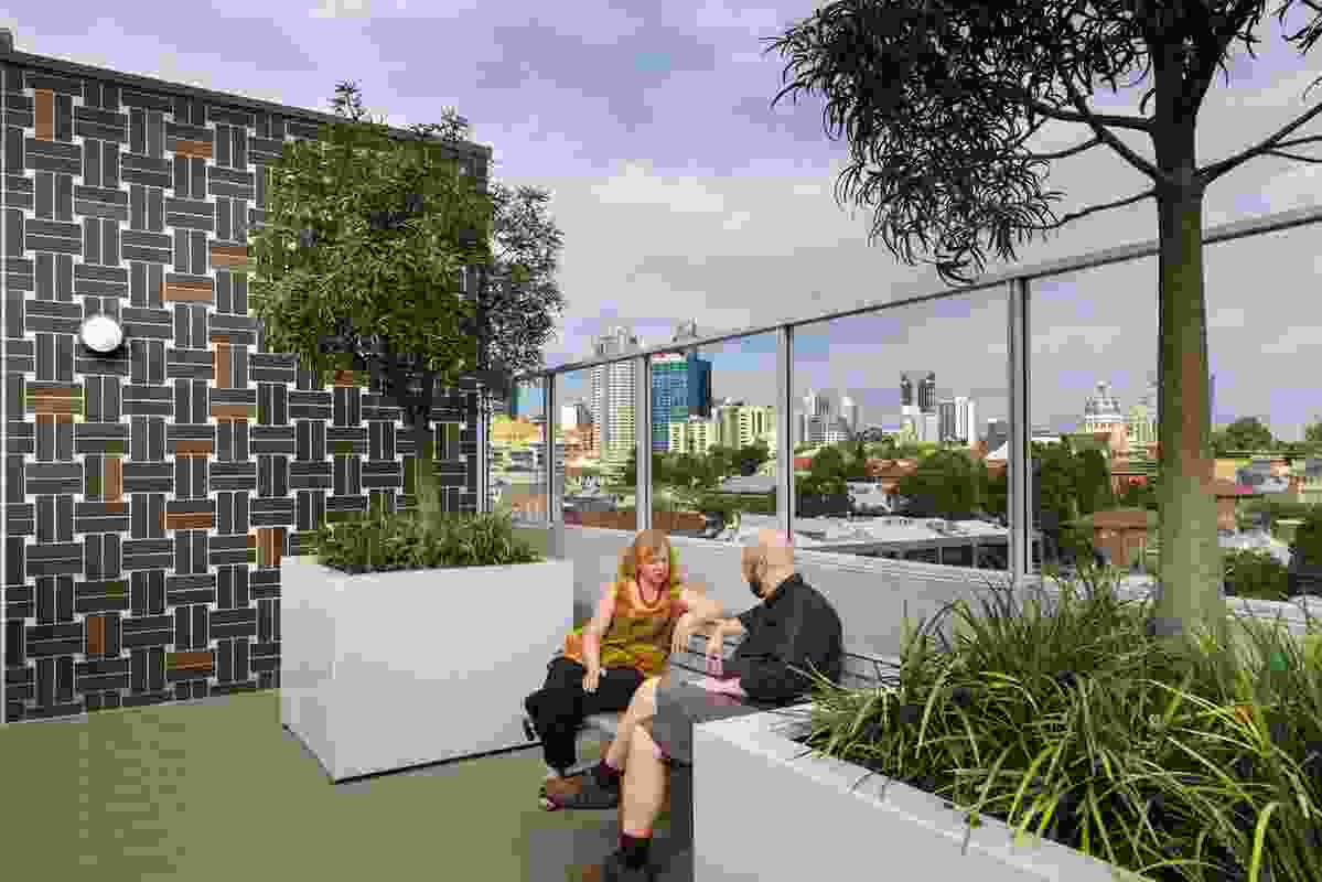 A shared rooftop garden provides opportunities for residents to interact.