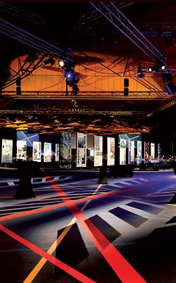 Avenues of award panels led towards the musicians' stage.