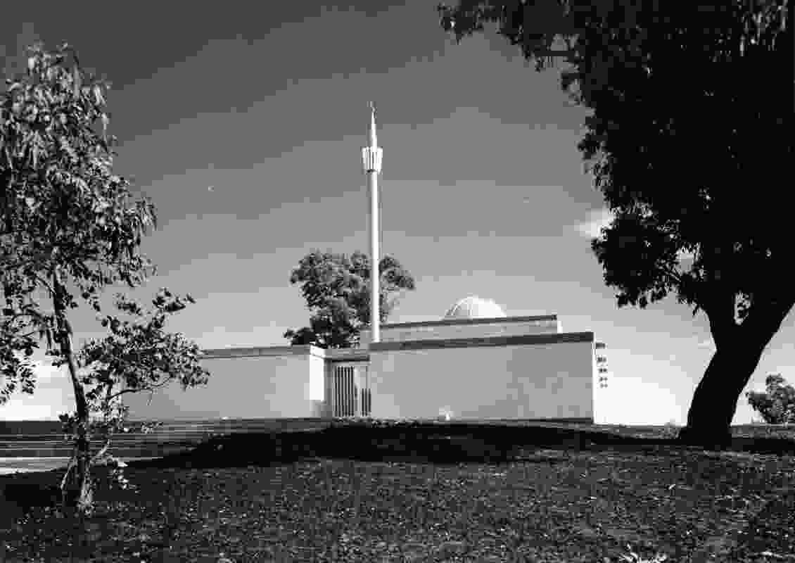 Canberra's first mosque, with dome and minaret, in Yarralumla, ACT. Design by Gerd and Renate Block (c. 1961).