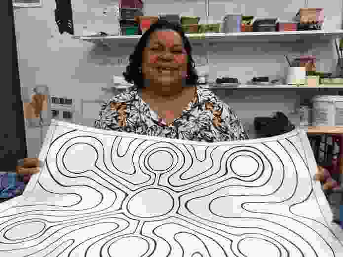 Martha Lee with her Jila (fresh water soak) artwork, to be installed as a paving pattern in Broome's Chinatown district.
