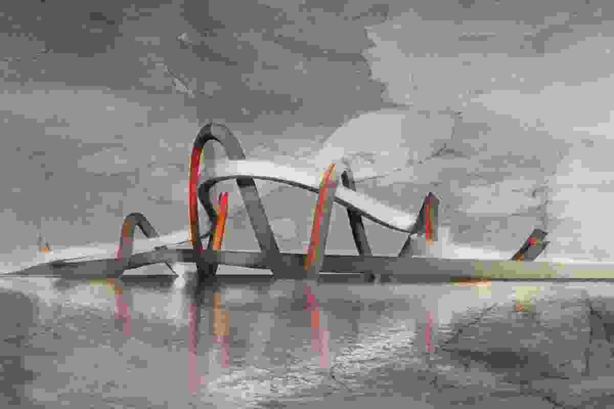Jinsha Footbridge by Denton Corker Marshall.