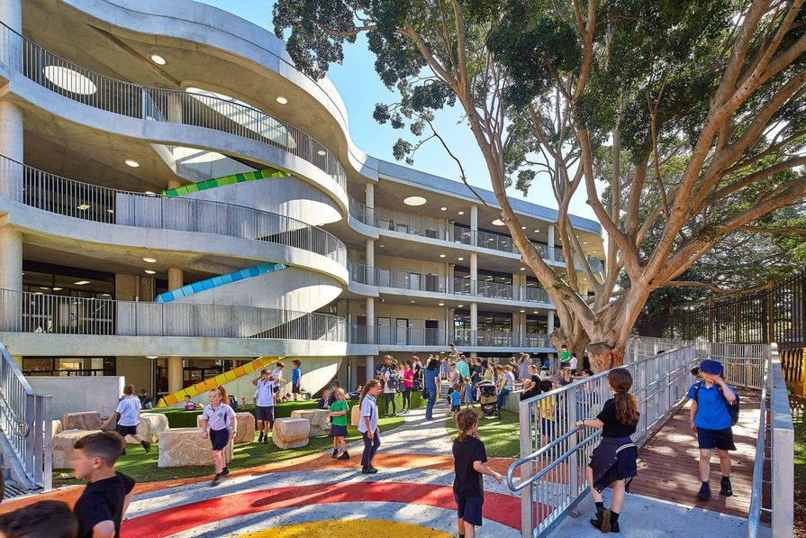 Bellevue Hill Public School by Group GSA is provided as an example in the manual for its use of of an existing large tree to provide shading to the play area.