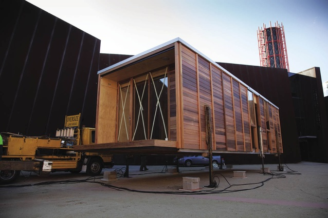 The Arkit EcoStudio is delivered to its site outside Melbourne's Australian Centre for Contemporary Art.