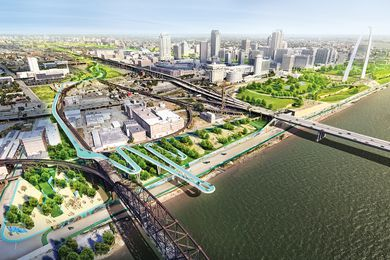 The design for the Chouteau Greenway in Missouri, led by Stoss Landscape Urbanism aims to connect St. Louis's Forest Park with its Gateway Arch and adjacent neighbourhoods providing opportunities for diverse collective experiences.