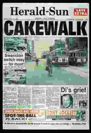The front page of the Herald Sun on the day that Swanston Street, Melbourne's main thoroughfare, was closed to vehicle traffic in 1992.