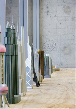 World Tower Comparison, by Richard Braddish, Urban Design and Heritage, Planning Department, City of Sydney. The series of models was located along a window edge of the exhibition space. Image: Brett Boardman