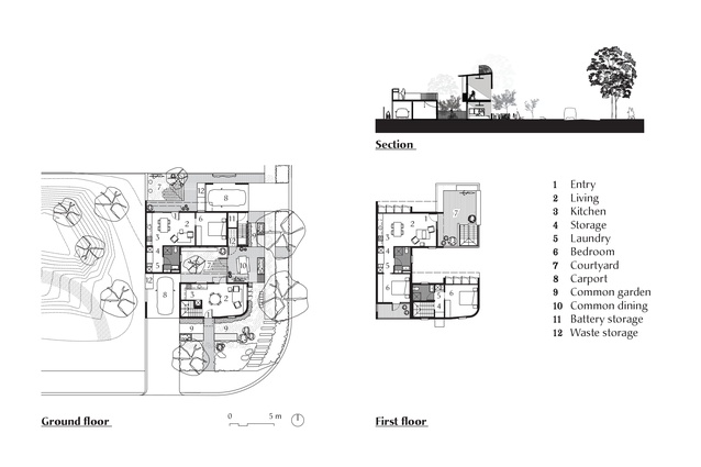 Plans and section of the Gen Y Demonstration Housing project by David Barr Architects.