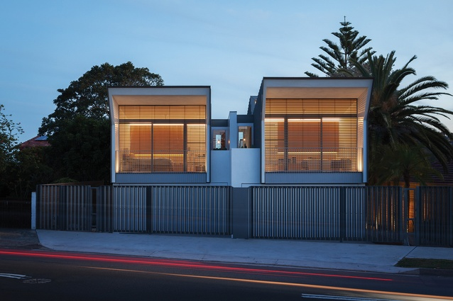The mirror-identical homes are lineal in nature, similar to nineteenth-century terrace houses.