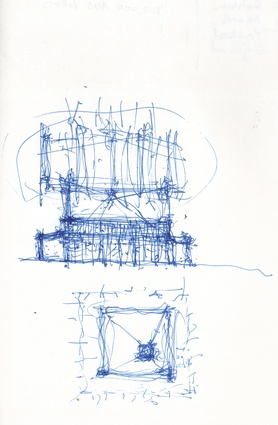 Sketches of the MPavilion by Bijoy Jain.
