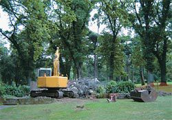 Demolition. The mid-century gem will be replaced with faux Victorian self-cleaning structures on the gardens' edge.