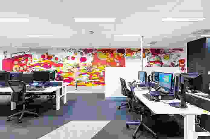 The murals are playful and dense with content at macro and micro scales, giving staff something new to discover even as they become familiar with the designs over time.