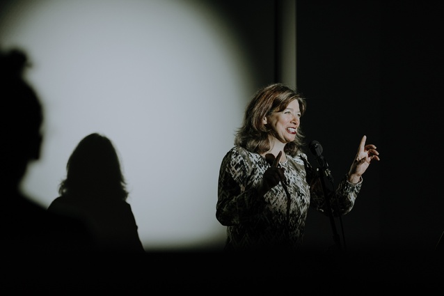 Karen Berger of Bowerbird Theatre playing Dr Lily Sharp in <I>Lingua Botanica</I>.