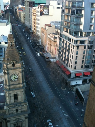 The view up Collins Street from the top of the Manchester Unity building.