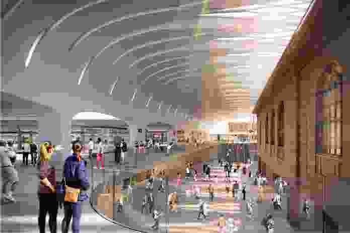 """Sydney's Central station is """"a jigsaw of contested space."""" The redesign by Woods Bagot and John McAslan and Partners focuses on increasing its functionality and ability to manage high numbers of people."""