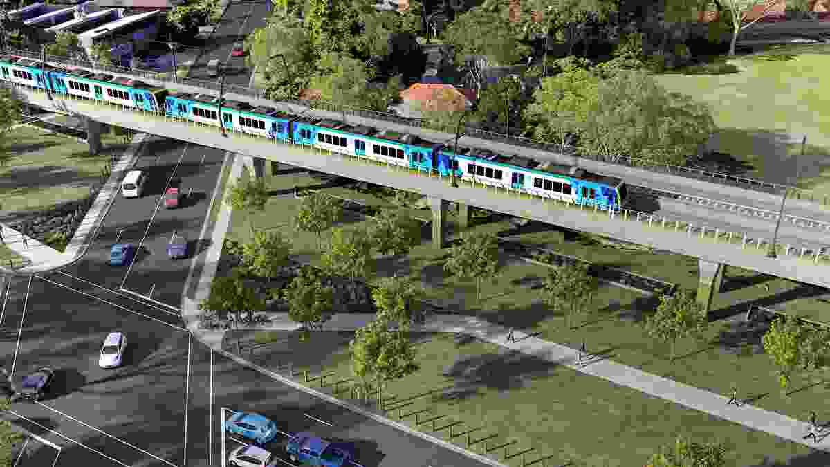 Designs for a section of elevated rail along Corrigan Road in Noble Park.