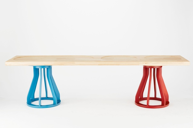 Jon Goulder Plank Bench and supporting Spool Stools for Dessein Furniture.