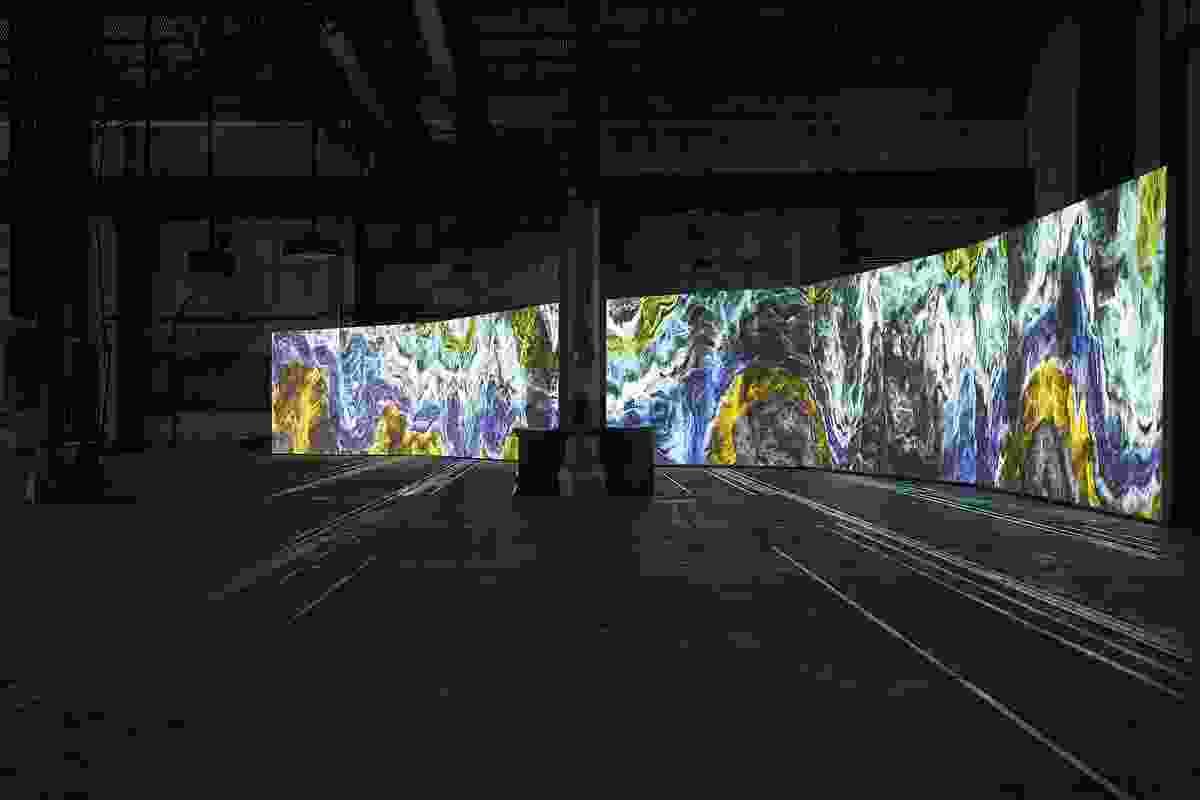 Semiconductor: Earthworks, 2016 five-channel computer generated animation with four-channel surround sound 11:20 mins. Installation view (2018) at Carriageworks for the 21st Biennale of Sydney. Commissioned by SónarPLANTA. Produced by Advanced Music.