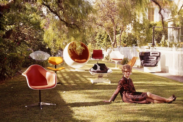 Marion Hall Best sitting on lawn with nine chairs by designers Andrews, Arnio, Saarinen, Colombo, Eames and Bertoia at The Grove, Woollhara.