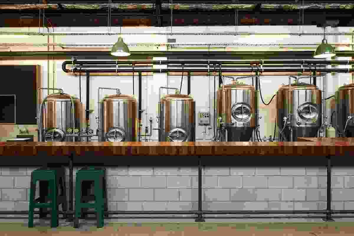 The US-made stainless steel brewhouse vats.