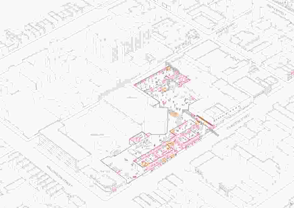 Key to Fieldwork's design for the precinct is the creation of pedestrians links from Johnston and Perry streets into the central courtyard