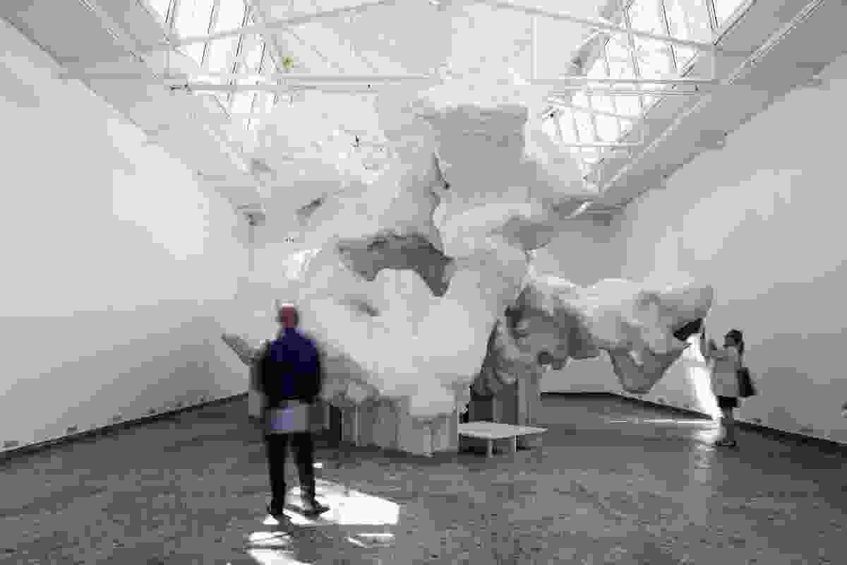 """The Incidental Space exhibition in the Swiss pavilion featured an irregular form of """"perceived virtuoso sloppiness,"""" which belied the rigorous structural analysis that sophisticated computation can implement."""